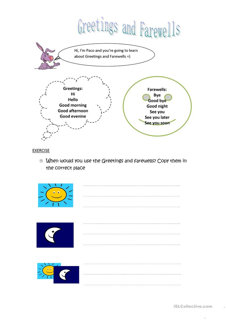 Greetings And Farewells Worksheet Free Esl Printable Worksheets