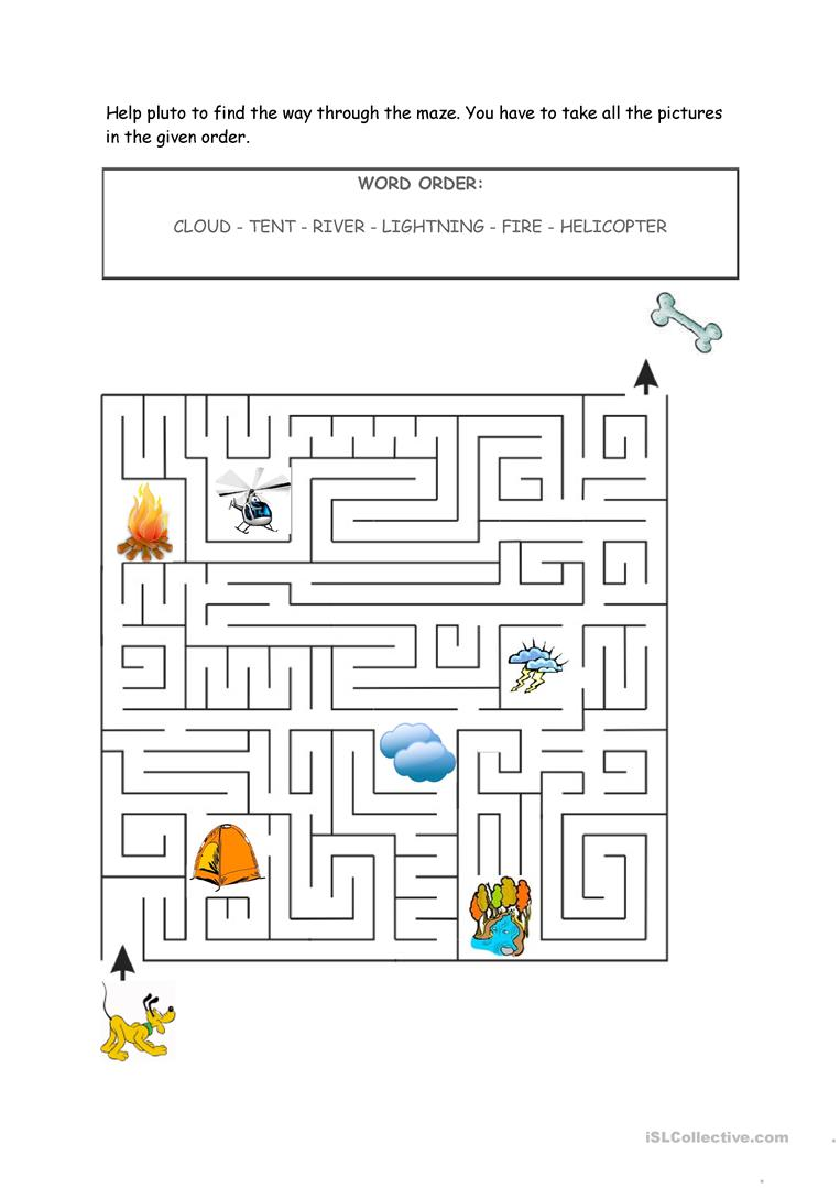 Help Pluto find a way through the maze   English ESL Worksheets ...