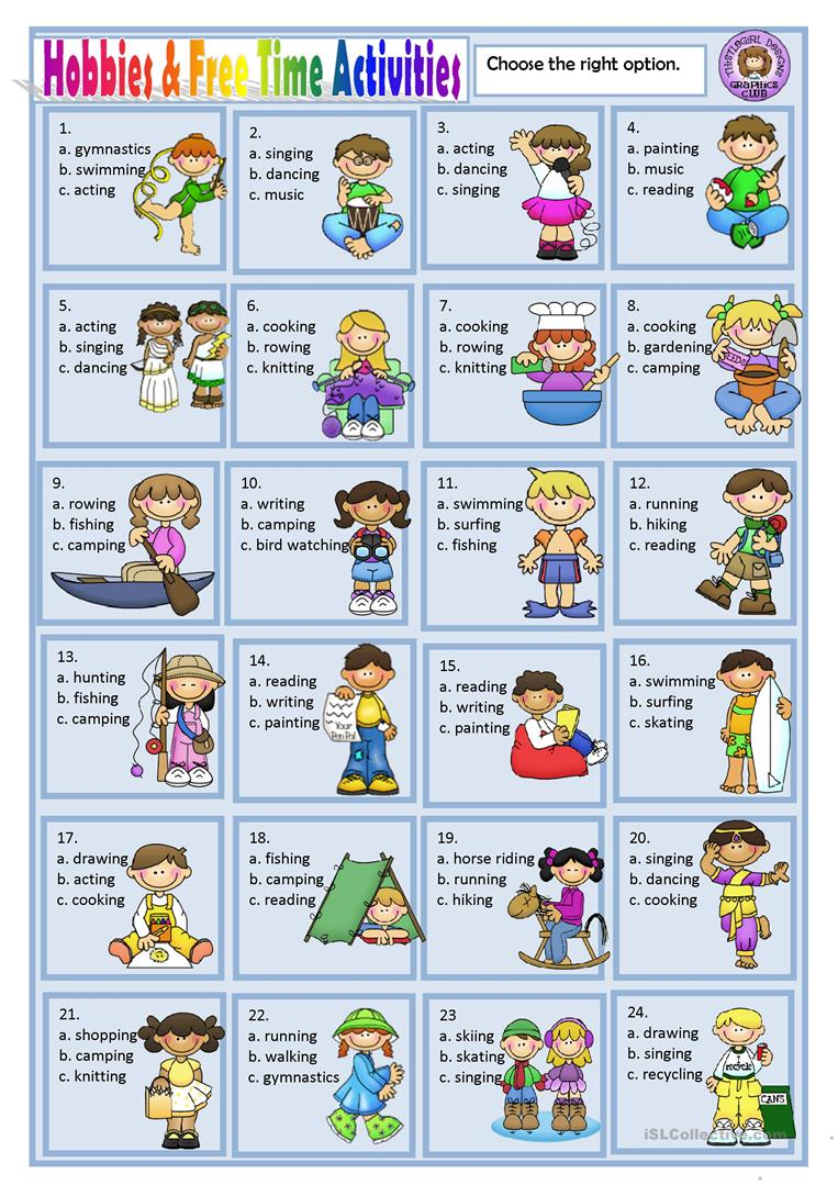HOBBIES AND FREE TIME ACTIVITIES - English ESL Worksheets
