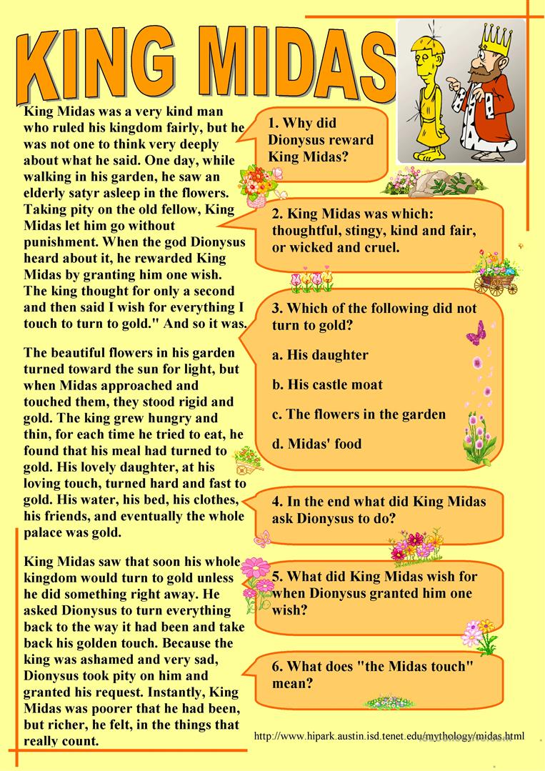 77 free esl fables worksheets king midas robcynllc Image collections