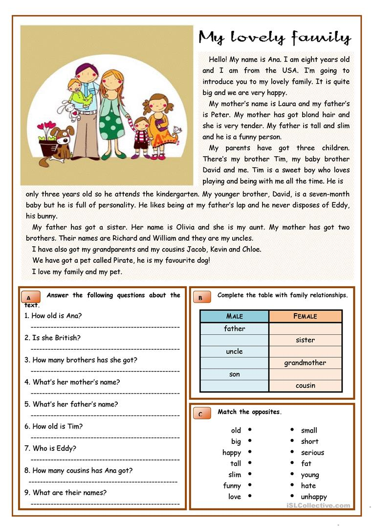 My Lovely Family English Esl Worksheets