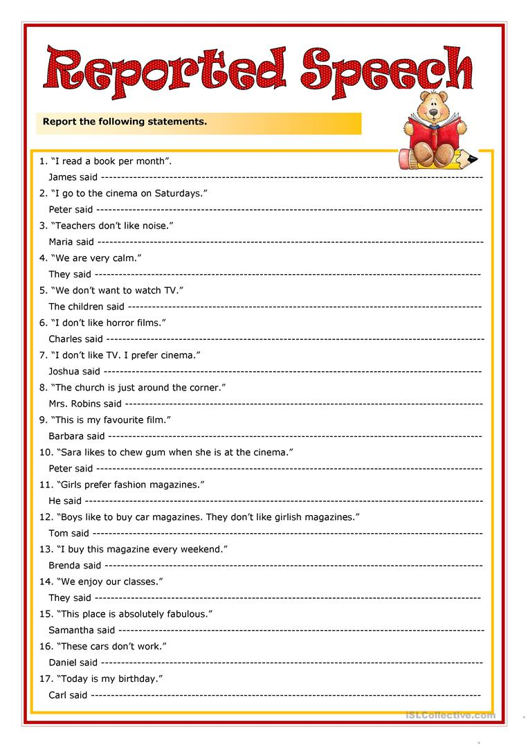 direct and indirect speech worksheets the large and most comprehensive worksheets. Black Bedroom Furniture Sets. Home Design Ideas
