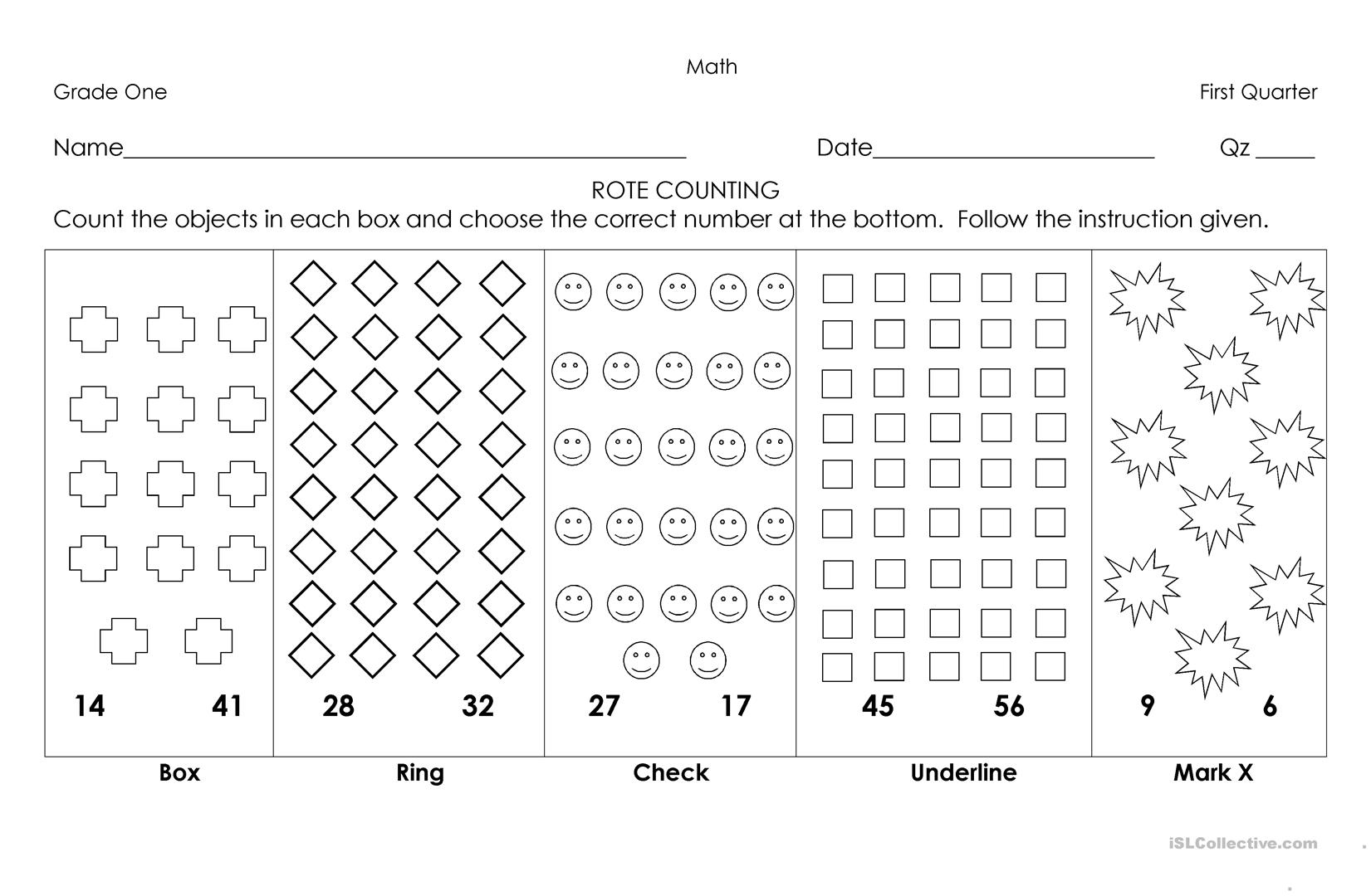 Rote Counting Worksheets - resultinfos