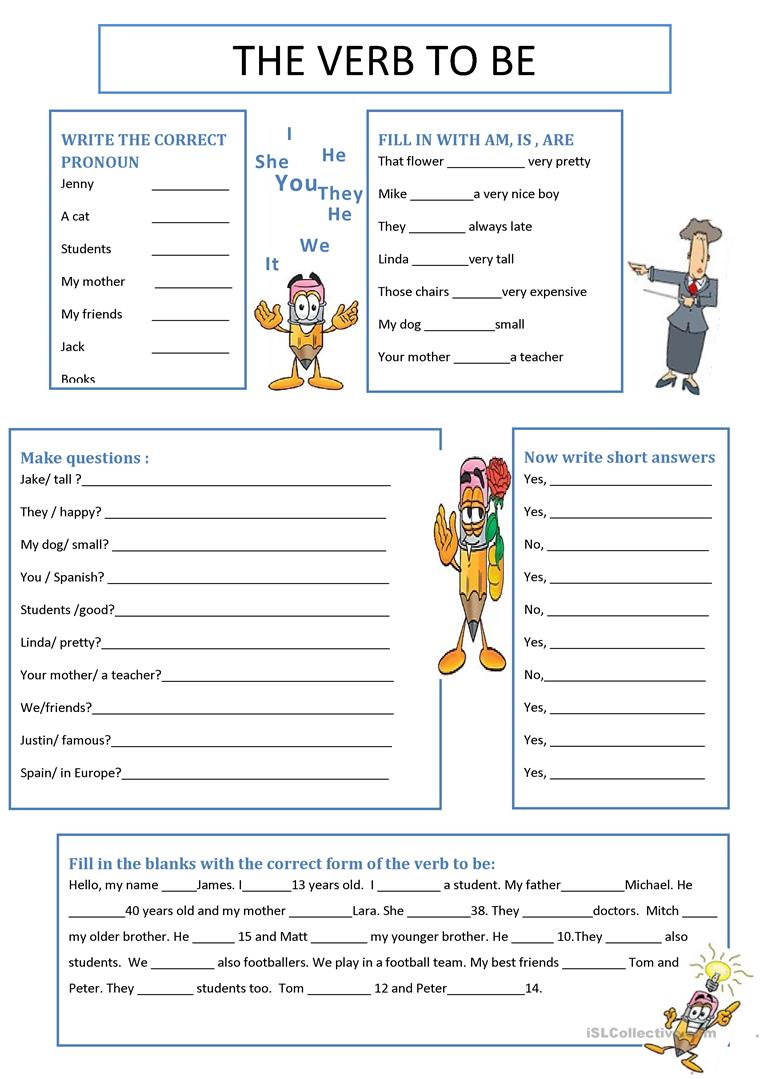 The verb to be - English ESL Worksheets
