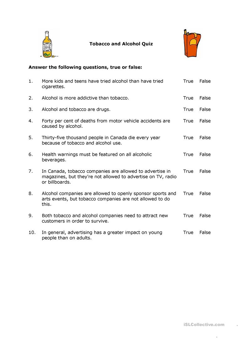 Drug and alcohol worksheets for middle school