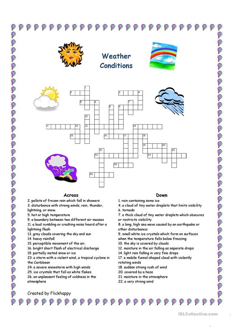 weather conditions crossword worksheet free esl printable worksheets made by teachers. Black Bedroom Furniture Sets. Home Design Ideas