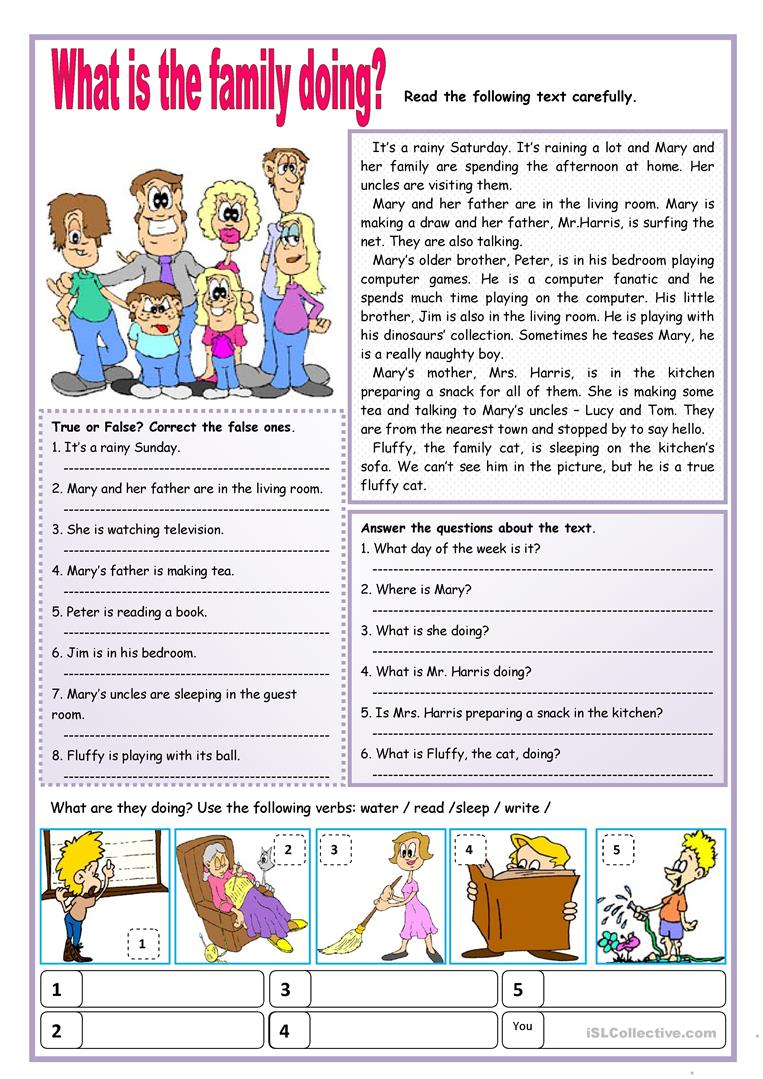 What Is The Family Doing English ESL Worksheets For