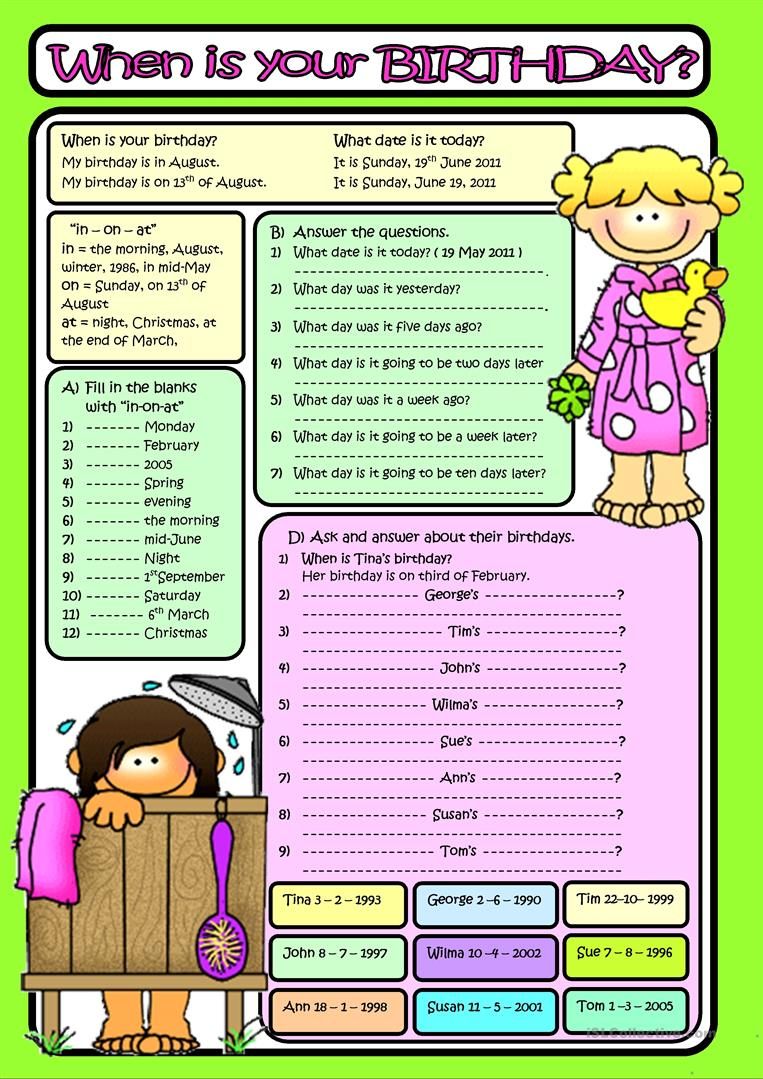 when is your birthday b w included worksheet free esl printable worksheets made by teachers. Black Bedroom Furniture Sets. Home Design Ideas