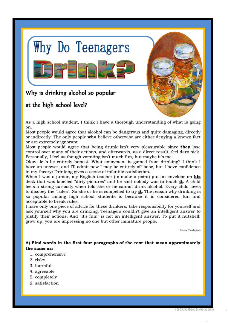 - Why Do Teenagers Drink? - English ESL Worksheets For Distance