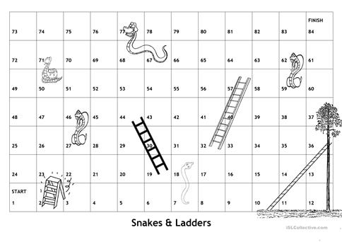 Board Game Snakes Ladders With English Game Questions And