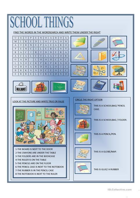 SCHOOL THINGS worksheet - Free ESL printable worksheets made by teachers