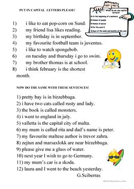 86 FREE ESL Punctuation worksheets