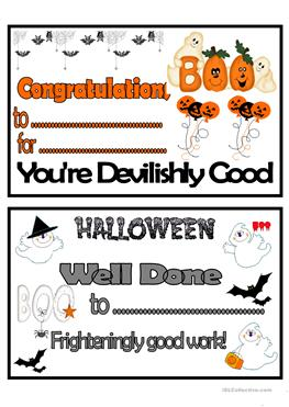 24 free esl certificate worksheets halloween certificates yadclub Image collections