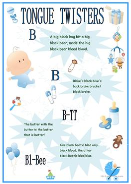 46 FREE ESL Tongue Twister Worksheets