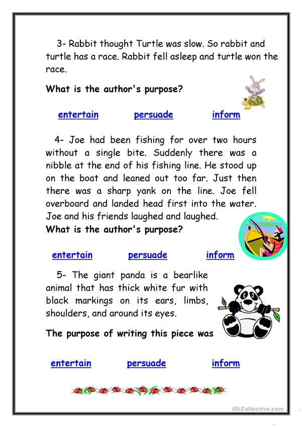 Author's Purpose - English ESL Worksheets