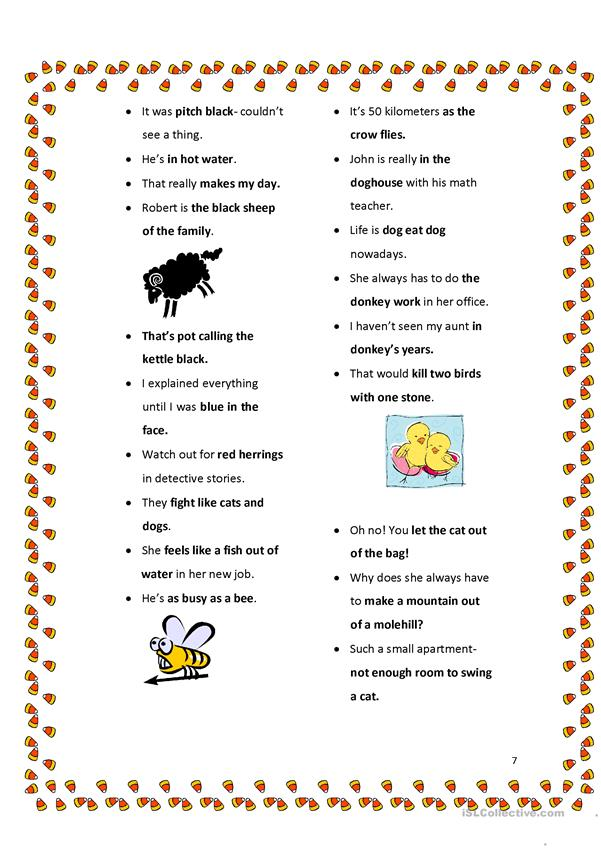 8 pages of Fun Idioms and Expressions