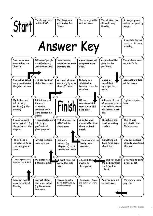 Board Game - Passive Voice - English ESL Worksheets