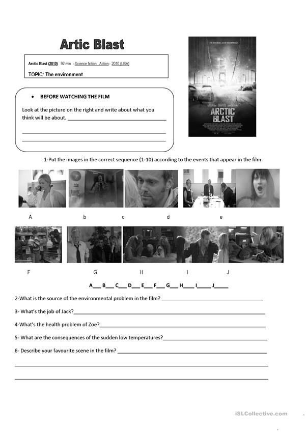 Film Artic blast- Worksheet