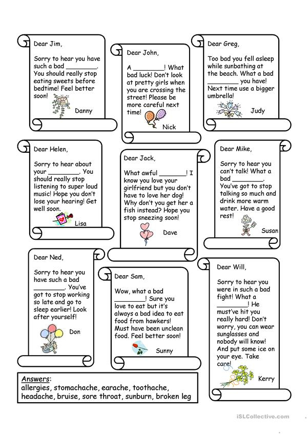 Get Well Letters Worksheet