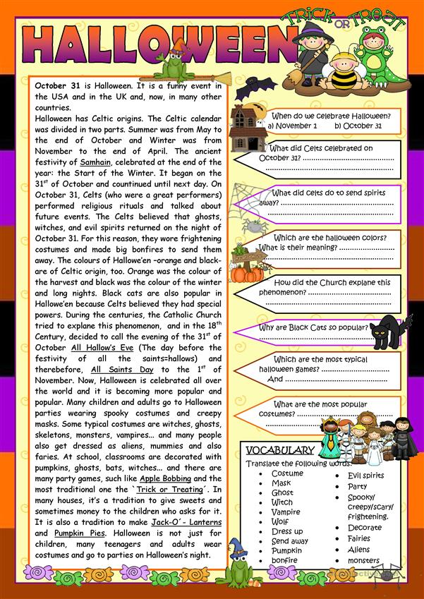 Hallowe'en (READING) (WORKSHEET 1)