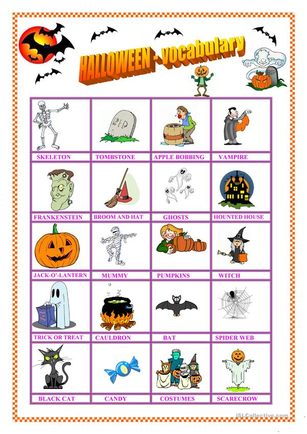 Halloween - vocabulary & missing vowel