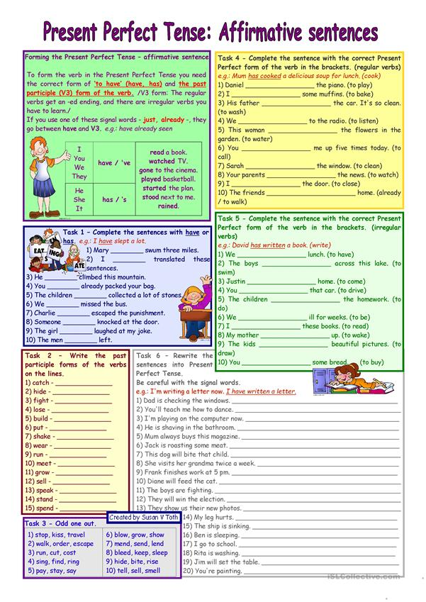 Present Perfect Tense - affirmative sentence * elementary * grammar guide + 6 task * B&W *with key * fully editable