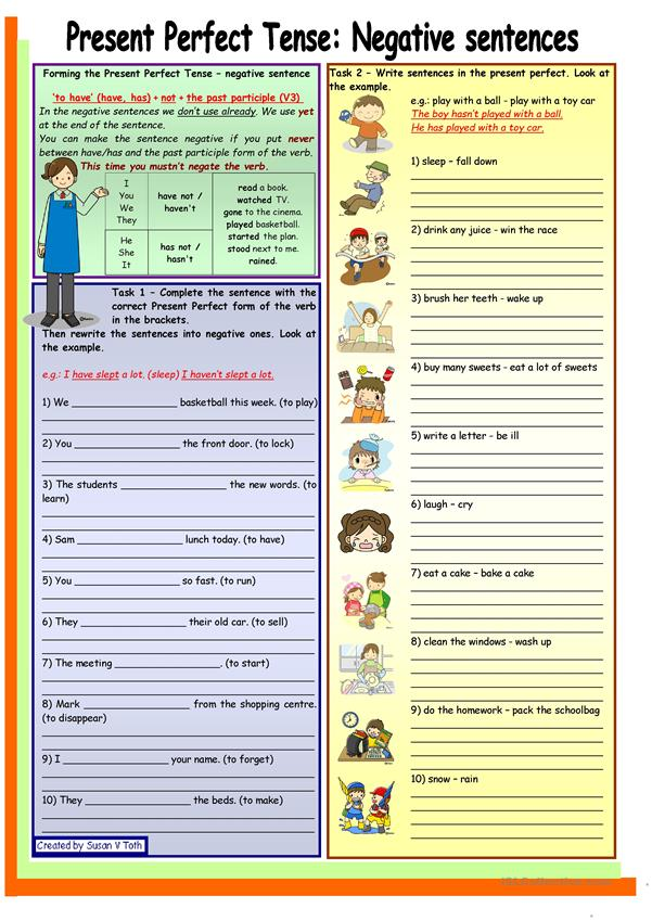 Present Perfect Tense - negative sentence * elementary * grammar guide + 6 task * with key * fully editable