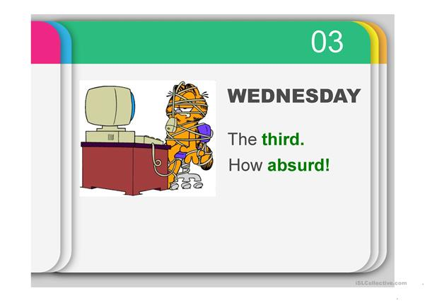 Rhyme on Days of the Week & Ordinal numbers with Garfield