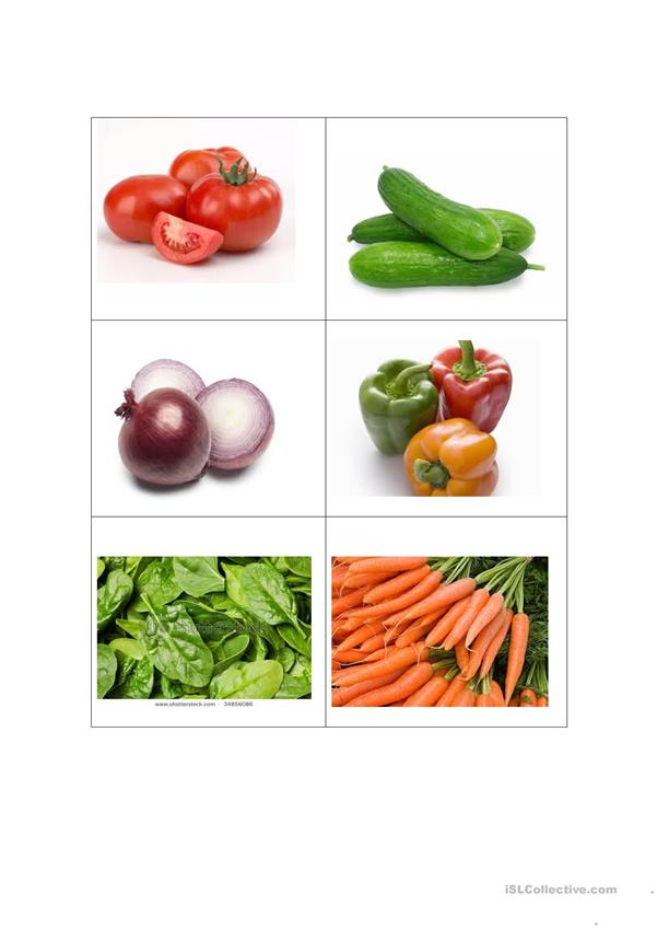 Vegetable Memory Game Cards for Beginners