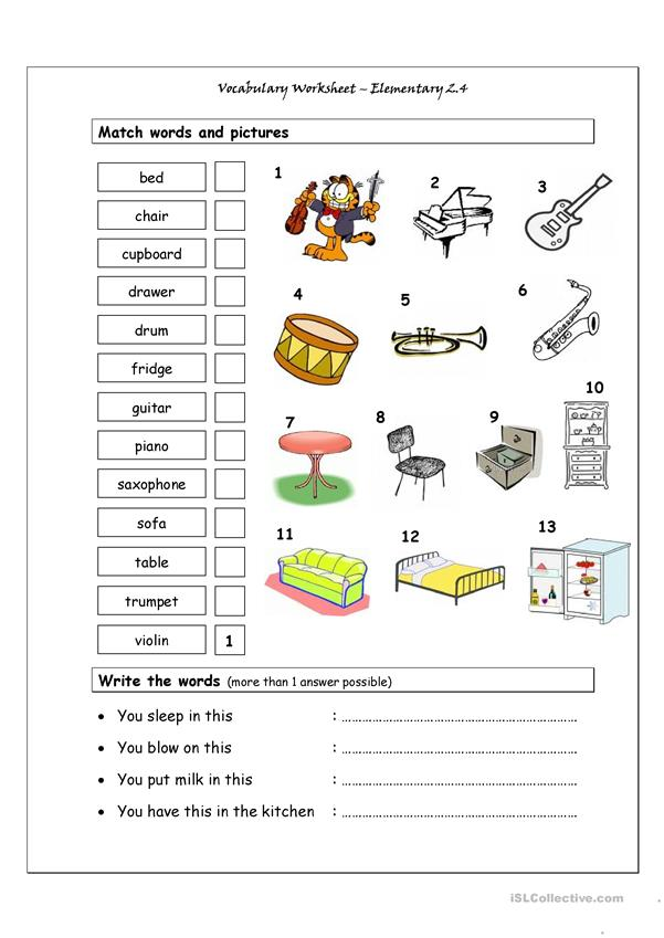 Vocabulary Matching Worksheet - Elementary 2.4 (Musical Instruments & House words)