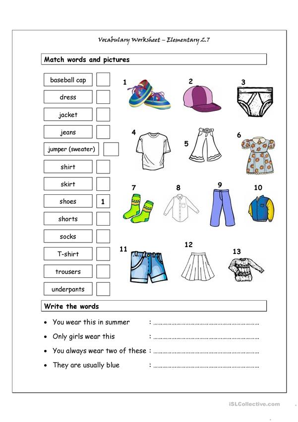 Vocabulary Matching Worksheet - Elementary 2.7 (CLOTHES)