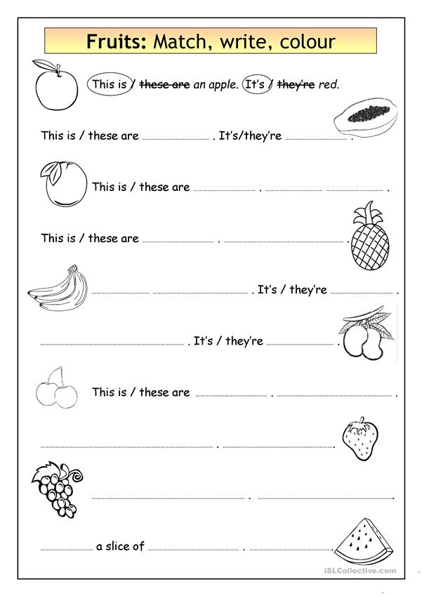 Vocabulary & Writing: Fruits