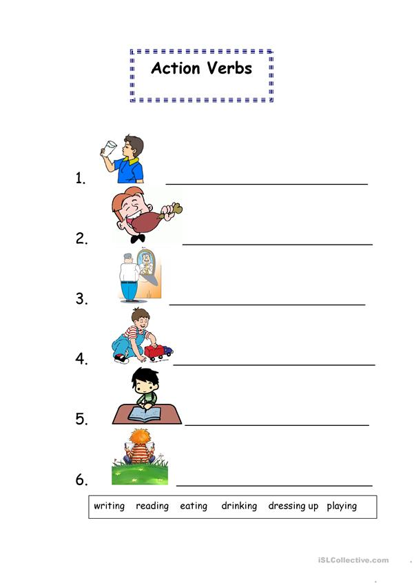 Write the correct verbs according to the pictures