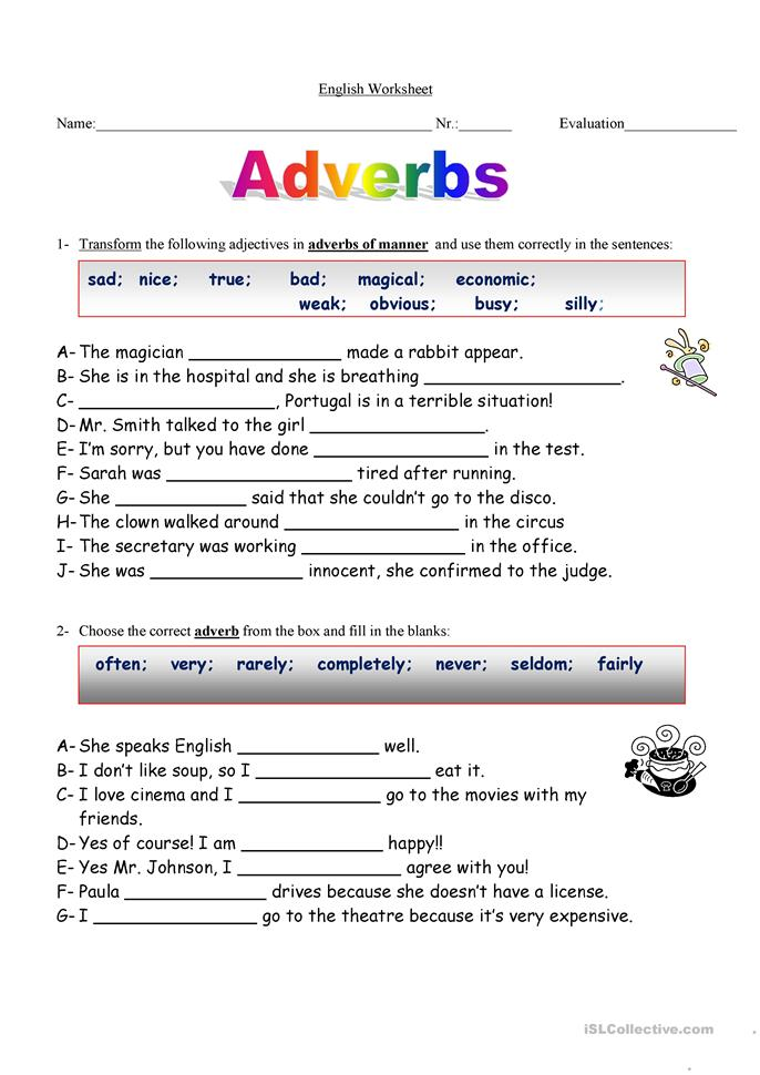 Printables Adverbs Worksheet Ronleyba Worksheets Printables – Free Adverb Worksheets