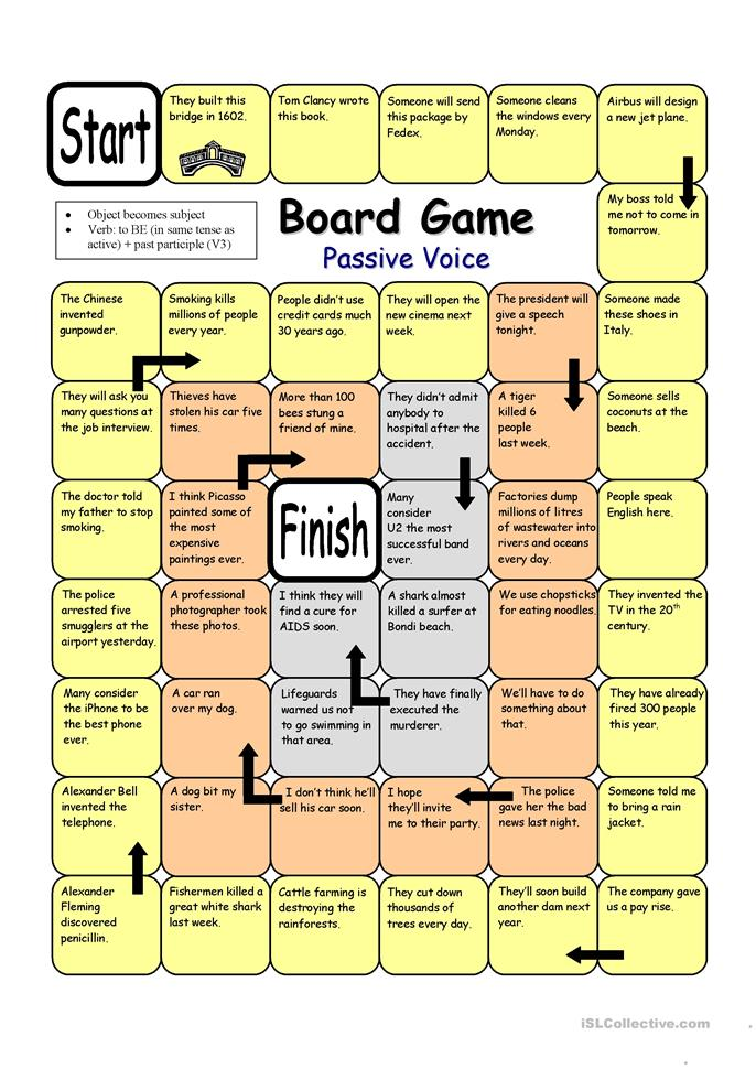 Board Game - Passive Voice - ESL worksheets