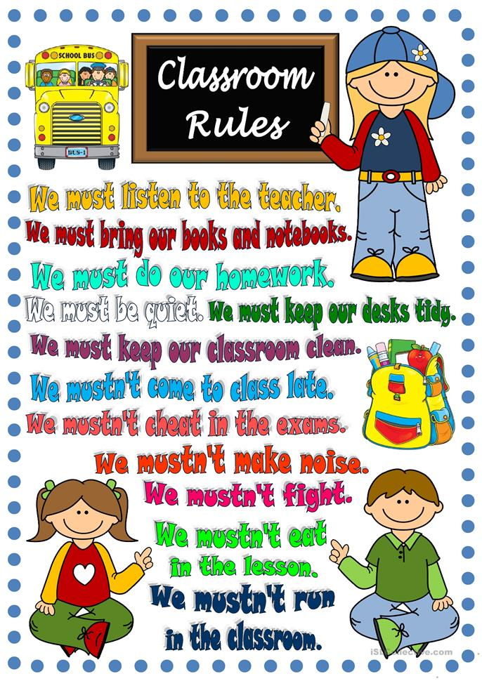 Classroom rules - poster - ESL worksheets
