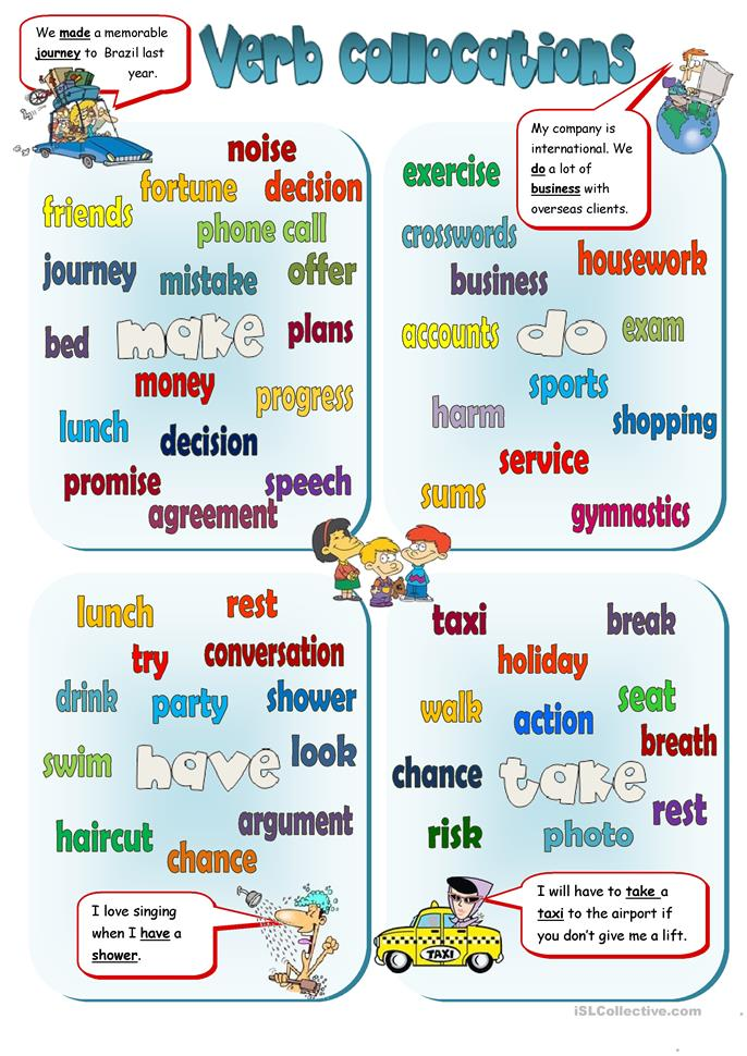 Collocations - MAKE, DO, HAVE, TAKE   FREE ESL worksheets
