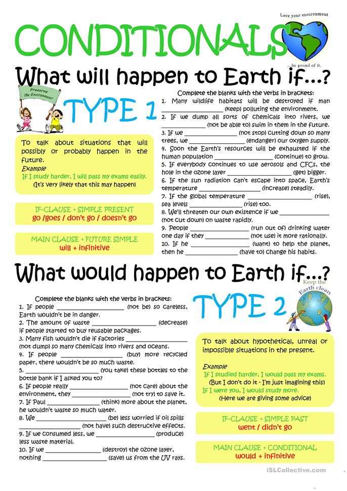 English In Italian: CONDITIONALS TYP1 &2 Worksheet