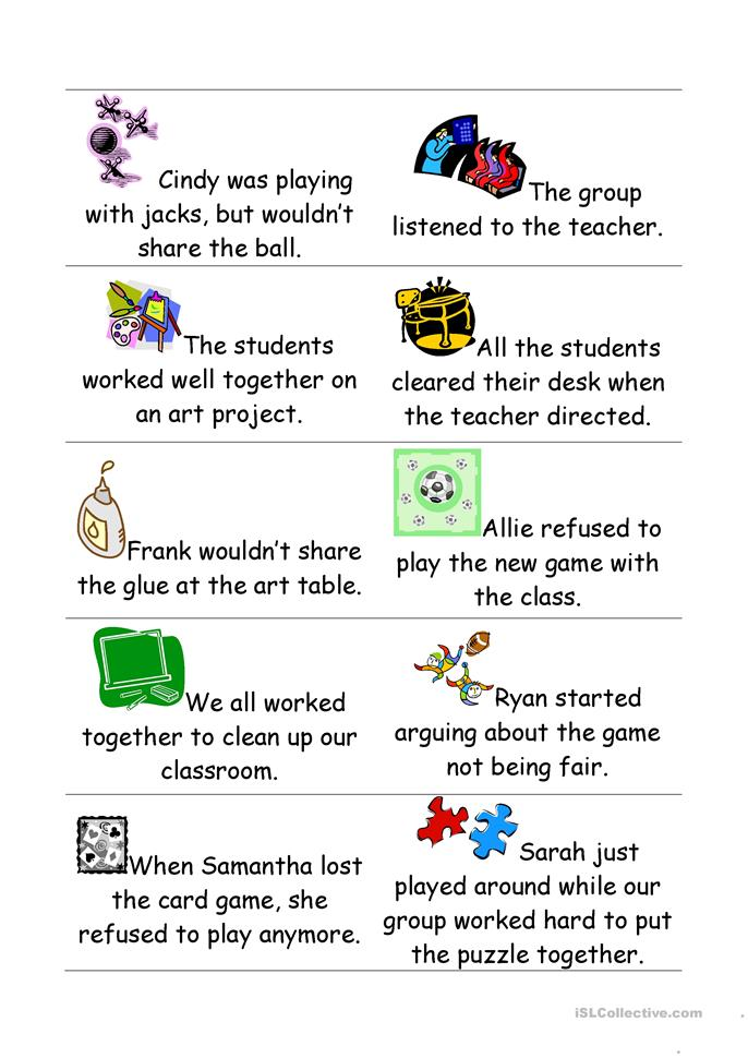 Cooperation sort cards worksheet - Free ESL printable ...