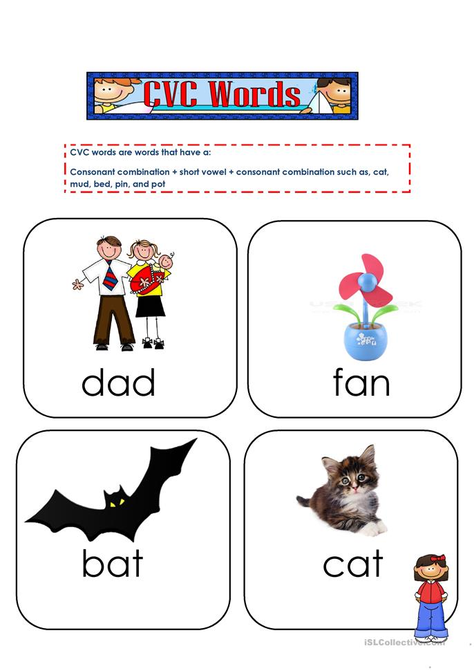 CVC words flashcards 1 - ESL worksheets