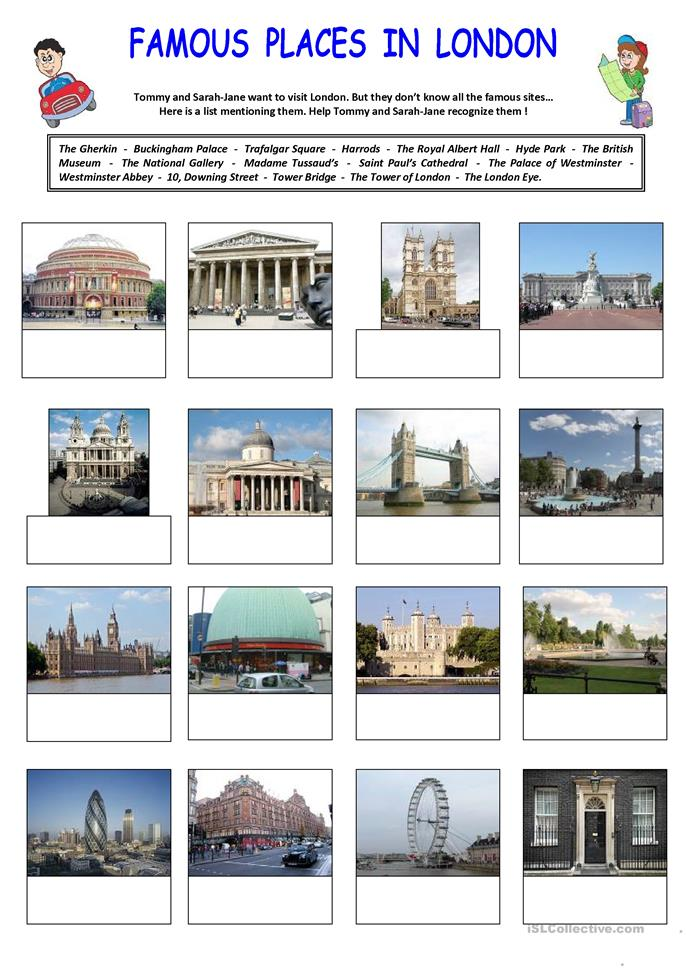 Famous places in London - ESL worksheets