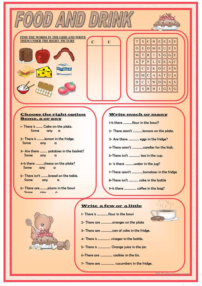 FOOD AND DRINKS - ESL worksheets