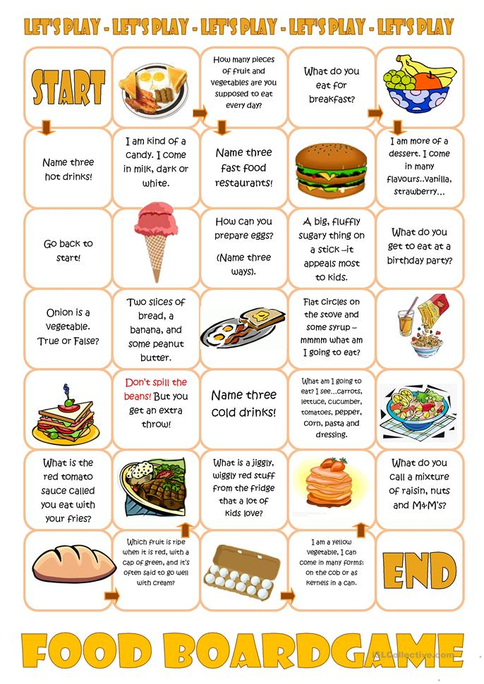 Food Boardgame - ESL worksheets