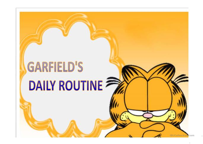 big_11086_garfields_daily_routine_1 Worksheet Daily Routine on before after, present simple esl, for grade 2, for kindergarten, for preschoolers, for kindergatern,