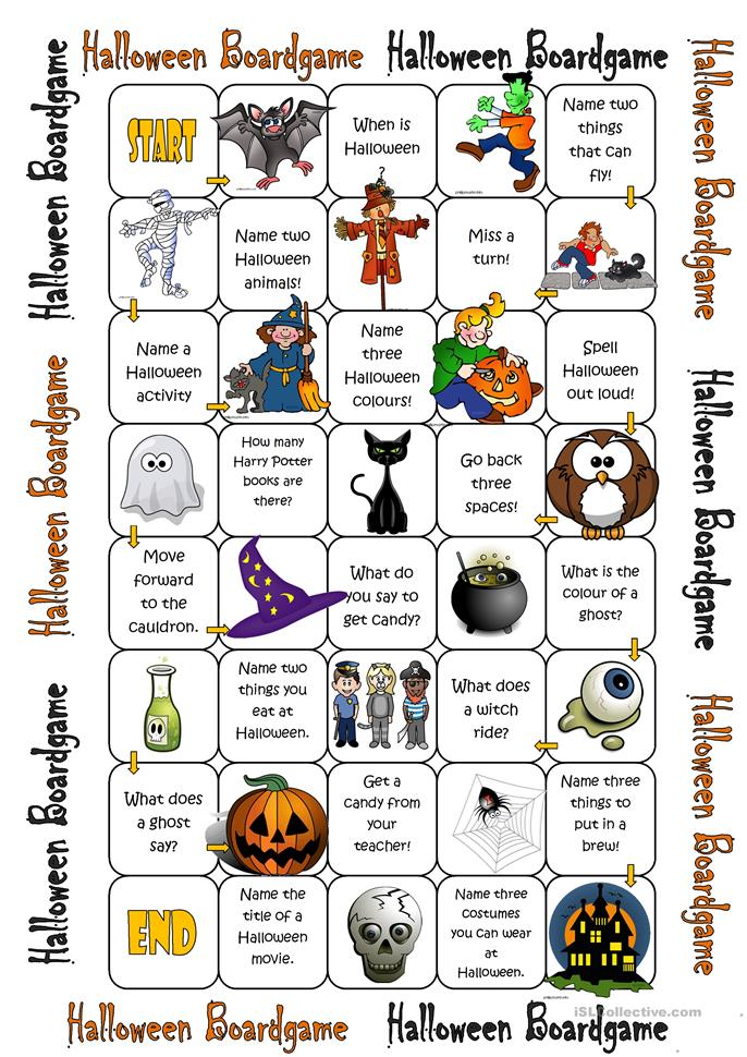 Halloween Boardgame - ESL worksheets