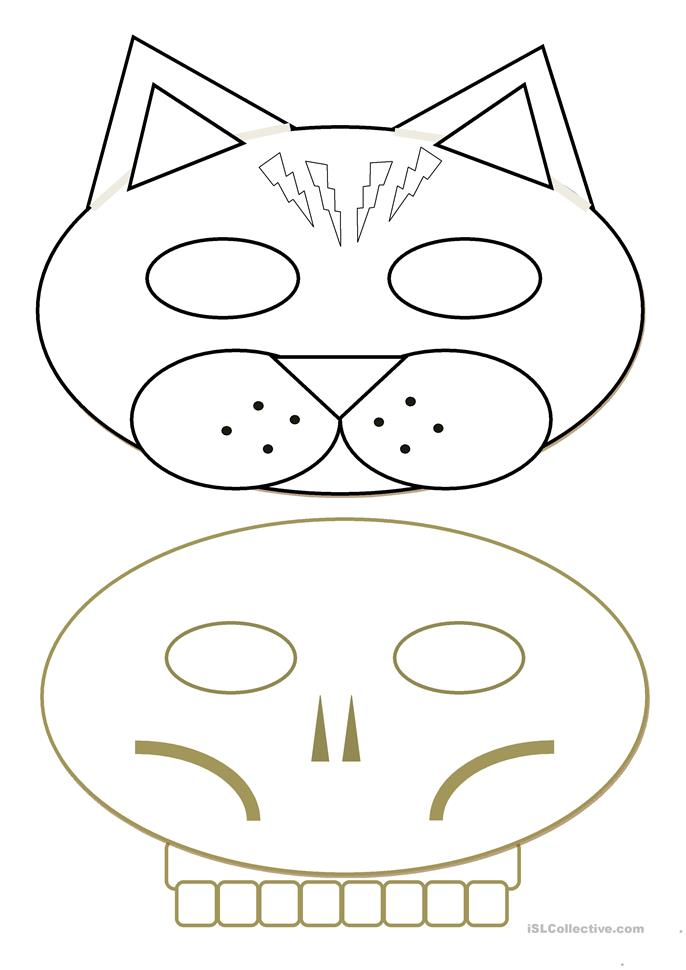 Halloween / Carnival Masks - black and white - ESL worksheets