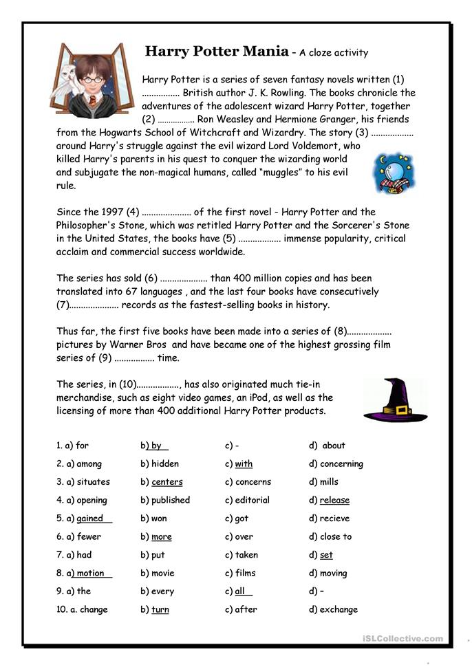 Worksheet Cloze Worksheets 107 free esl cloze worksheets harry potter mania cloze