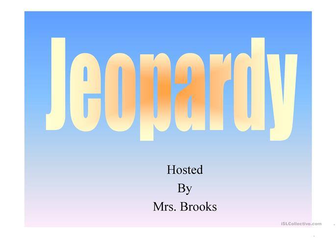 JEOPARDY PAST  TENSE - ESL worksheets