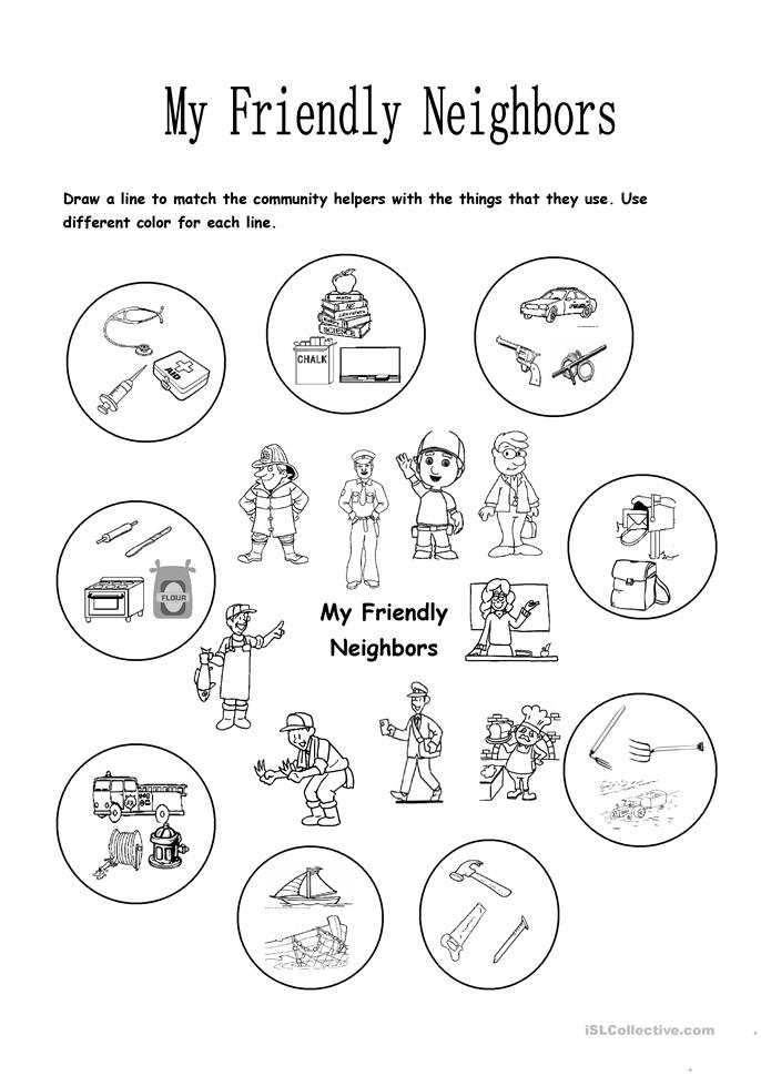 my friendly neighbors worksheet free esl printable worksheets made by teachers. Black Bedroom Furniture Sets. Home Design Ideas