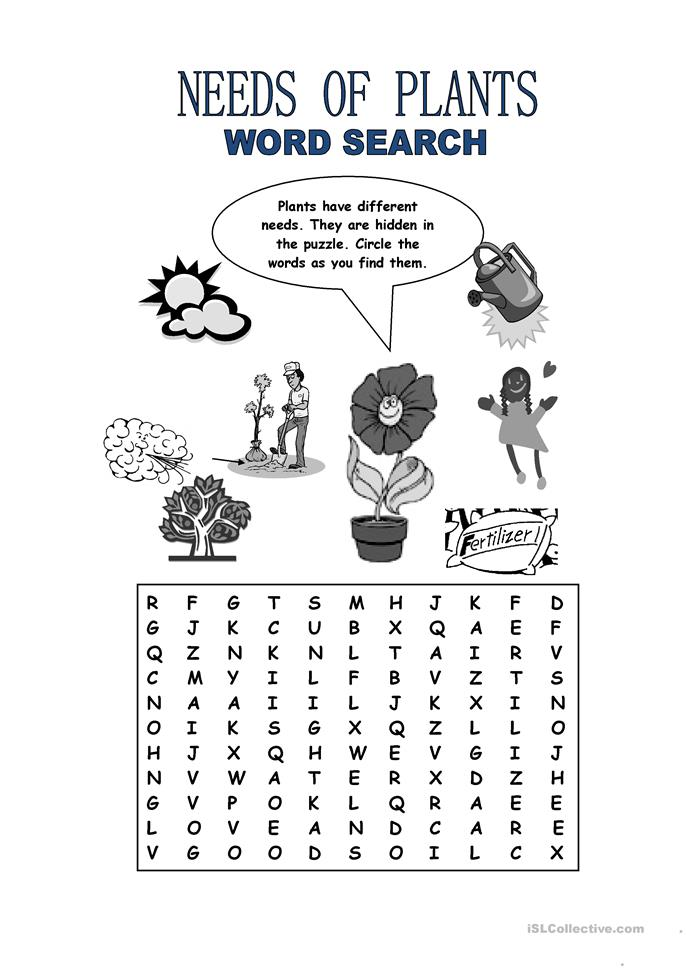 Printables Plants Worksheets 36 free esl plant worksheets needs of plants word search